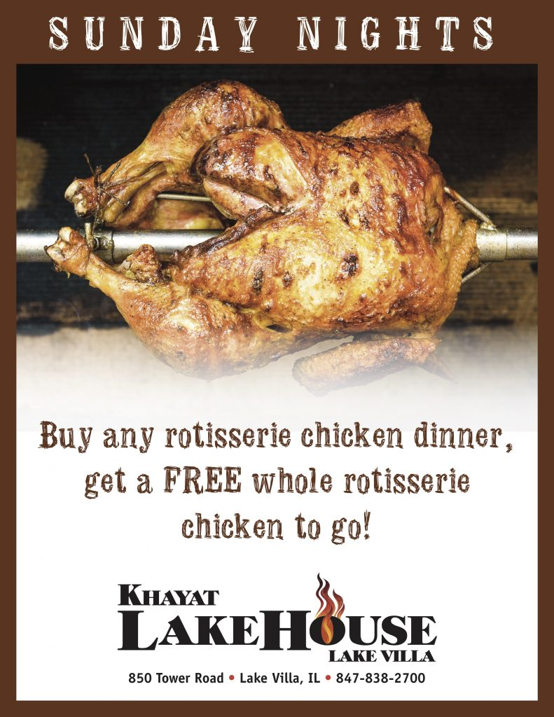 LakeHouse Lake Villa Rotisserie chicken special