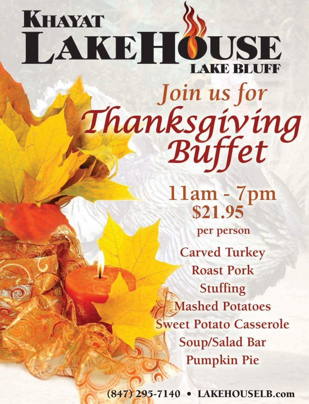 Thanksgiving Buffet at LakeHouse Lake Bluff 2018