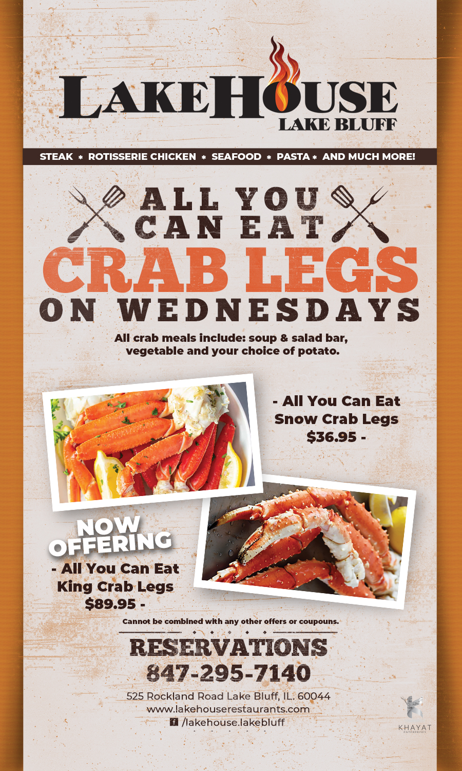 All You Can Eat Crab Legs On Wednesdays at LakeHouse Lake Bluff