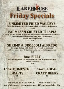 LakeHouse Lake Villa Friday Specials