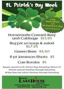 St. Patrick's Day Specials- LakeHouse Lake Bluff