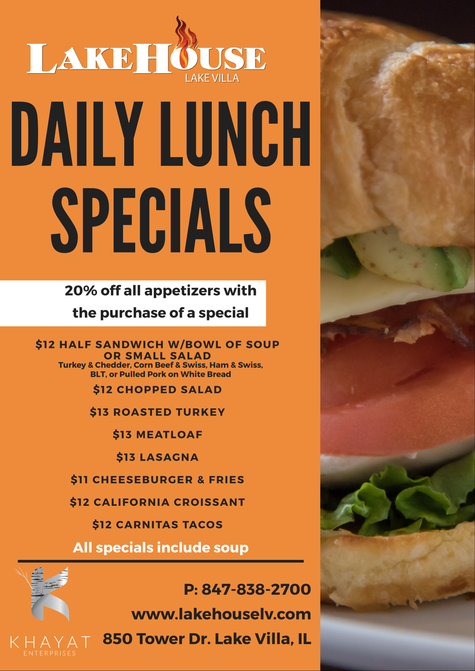 Daily Lunch Specials for LakeHouse- Lake Villa