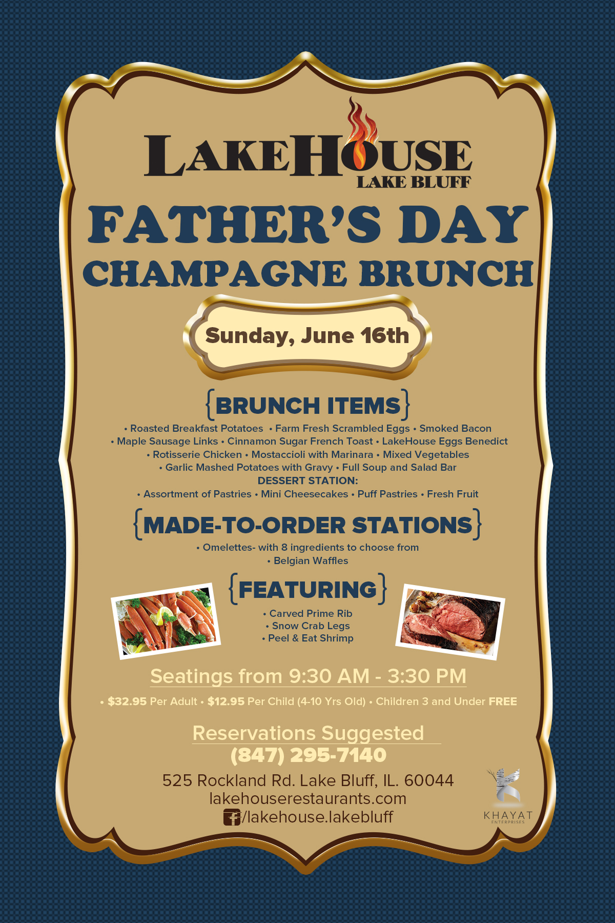 LakeHouse Lake Bluff Father's Day Champagne Brunch