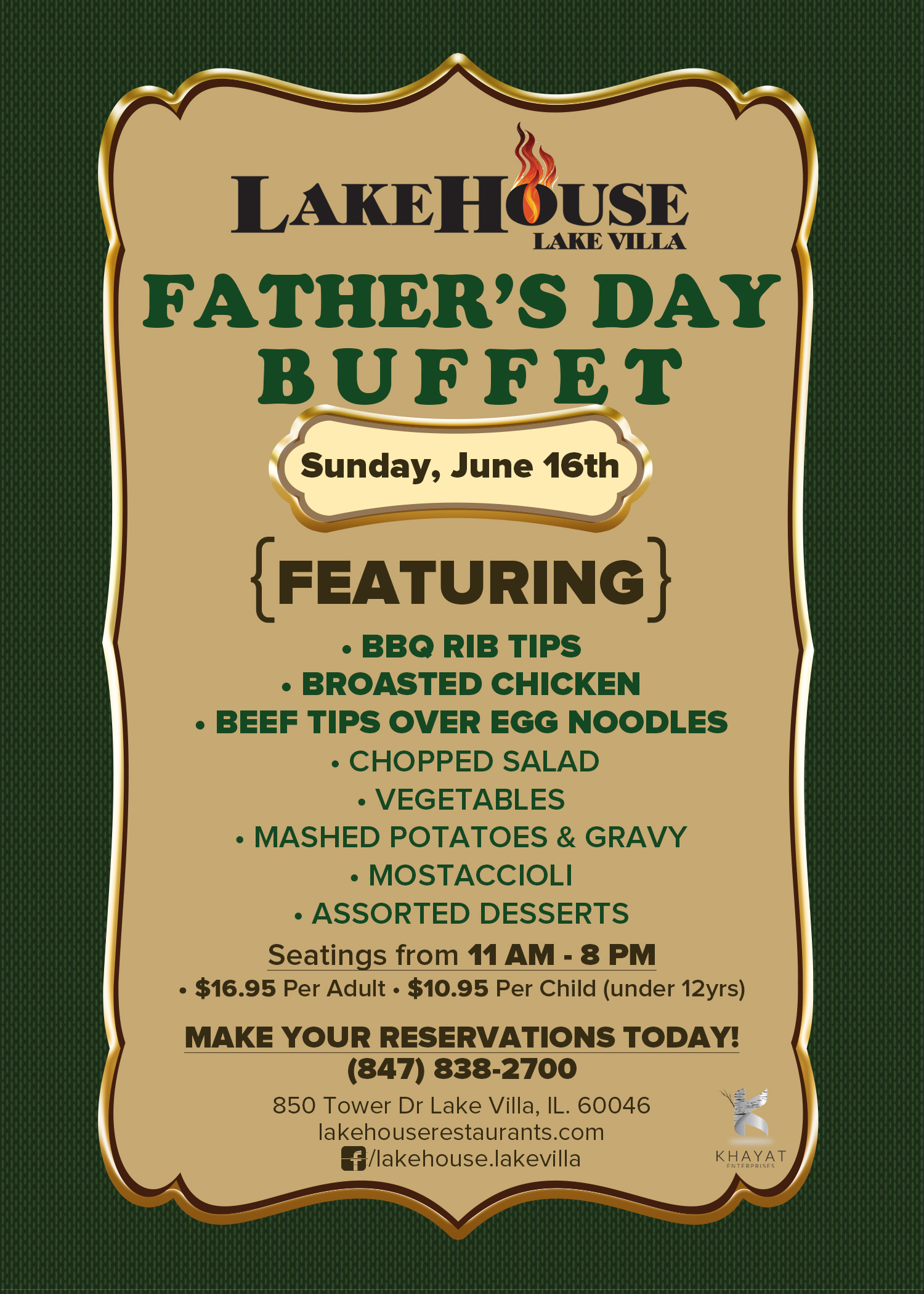 LakeHouse Lake Villa- Father's Day Buffet